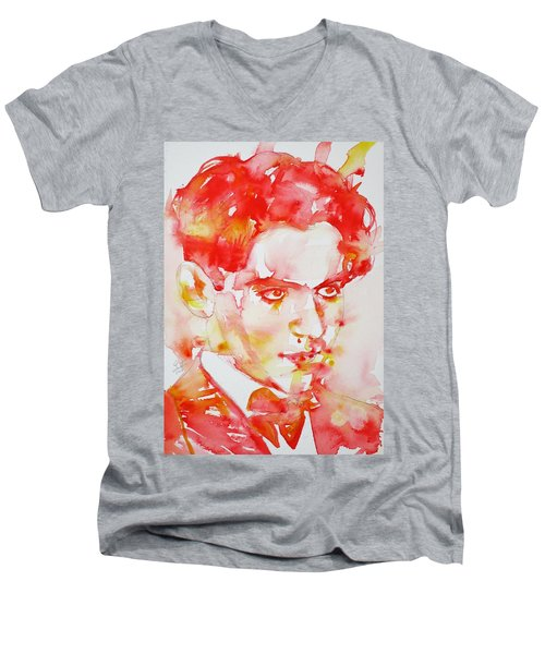 Men's V-Neck T-Shirt featuring the painting Federico Garcia Lorca - Watercolor Portrait by Fabrizio Cassetta