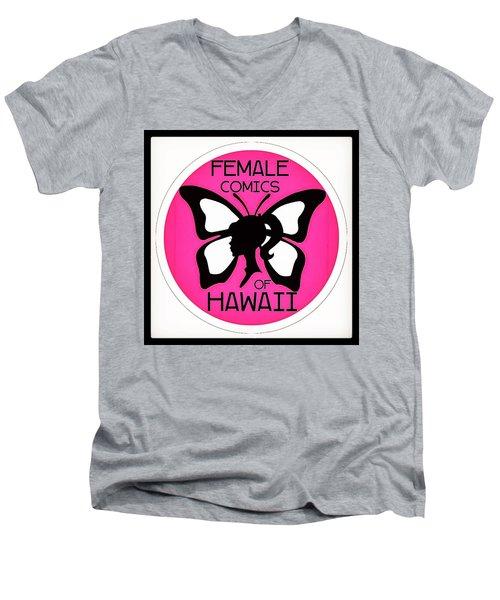 Men's V-Neck T-Shirt featuring the digital art Female Comics Of Hawaii by Erika Swartzkopf