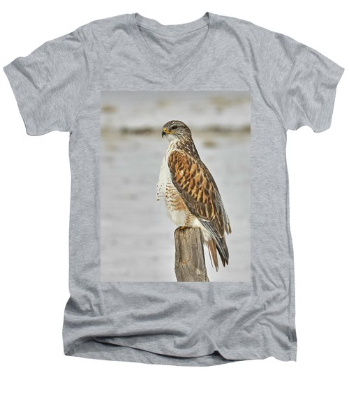 Men's V-Neck T-Shirt featuring the photograph Ferruginous Hawk by Doug Herr