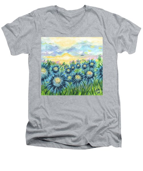 Field Of Blue Flowers Men's V-Neck T-Shirt by Holly Carmichael