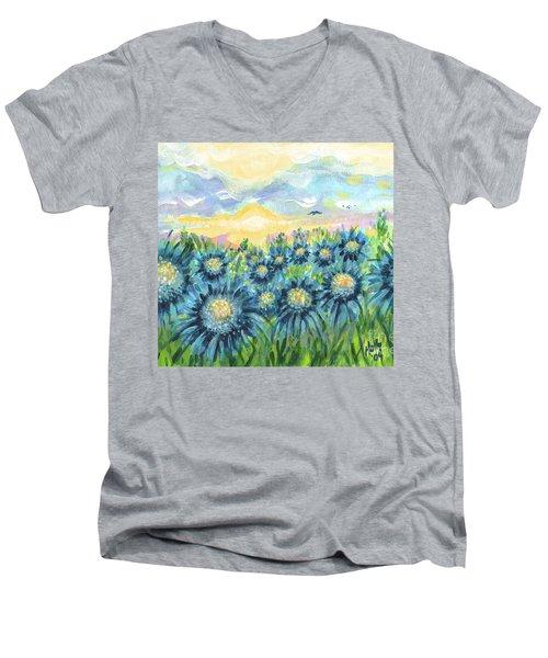 Field Of Blue Flowers Men's V-Neck T-Shirt