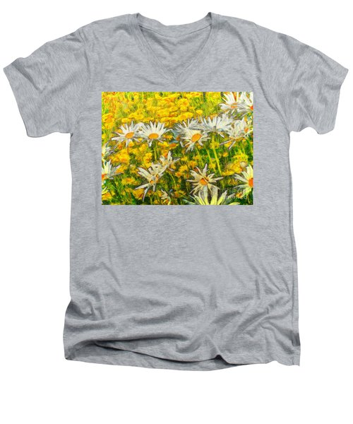 Field Of Daisies Men's V-Neck T-Shirt