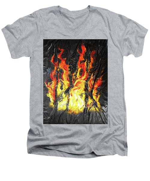 Fire Too Men's V-Neck T-Shirt by Angela Stout