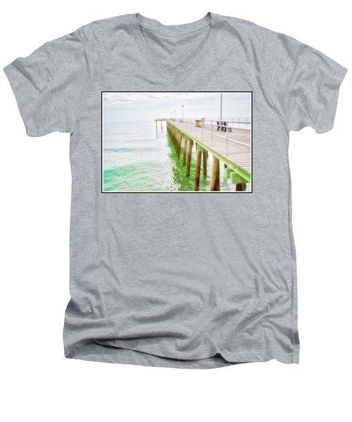 Fishing Pier, Margate, New Jersey Men's V-Neck T-Shirt
