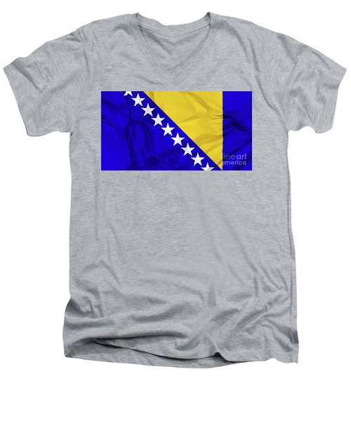 Flag Of Bosnia Men's V-Neck T-Shirt
