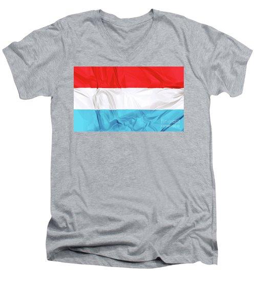 Flag Of Luxembourg Men's V-Neck T-Shirt