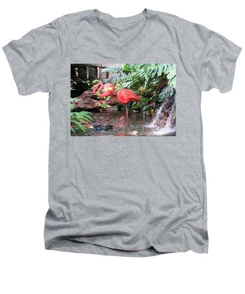 Flamingos Men's V-Neck T-Shirt by Betty Buller Whitehead