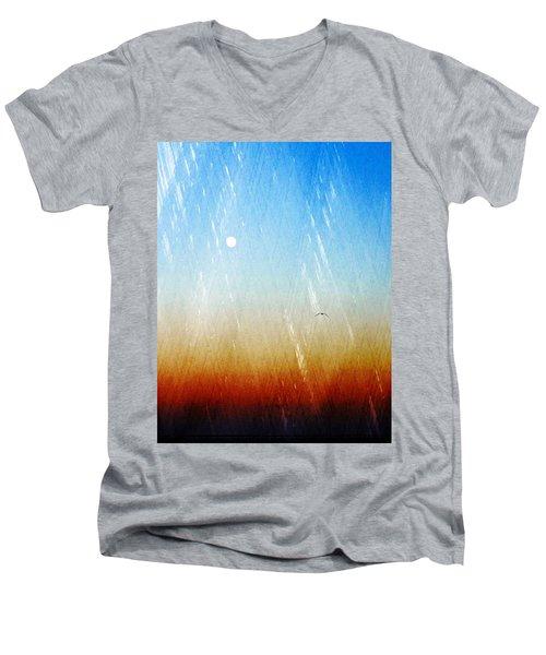 Men's V-Neck T-Shirt featuring the photograph Flight by Allen Beilschmidt