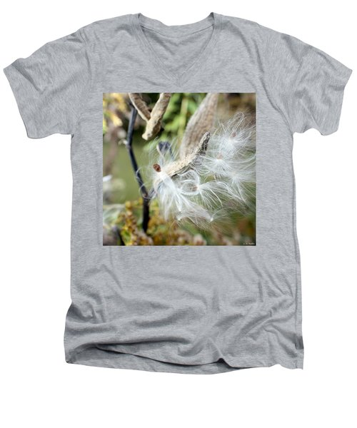 Flight Of The Milkweed Men's V-Neck T-Shirt by Lauren Radke