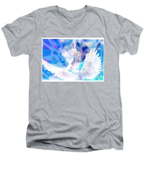 Men's V-Neck T-Shirt featuring the digital art Fly From The Inside  by Diana Riukas