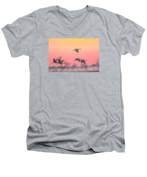 Flying Into The Light And Fog Men's V-Neck T-Shirt by Kelly Marquardt