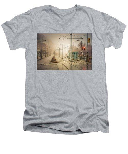 Fog Deserted Street Men's V-Neck T-Shirt