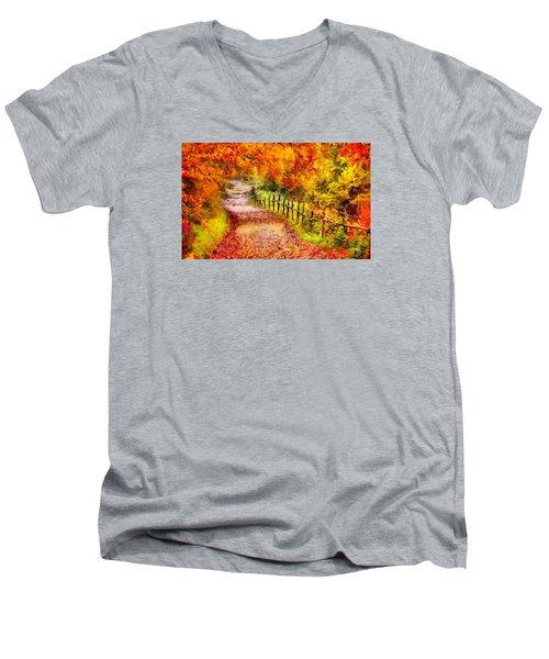 Fall Foliage Path 2 Men's V-Neck T-Shirt
