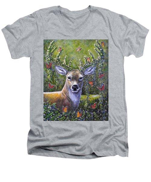Forest Monarch Men's V-Neck T-Shirt by Gail Butler