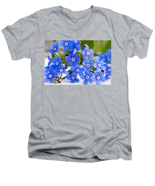 Forget-me-not Men's V-Neck T-Shirt by Chevy Fleet