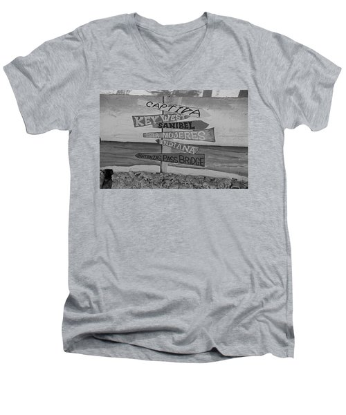 Fort Myers Beach Mural Men's V-Neck T-Shirt by Michiale Schneider