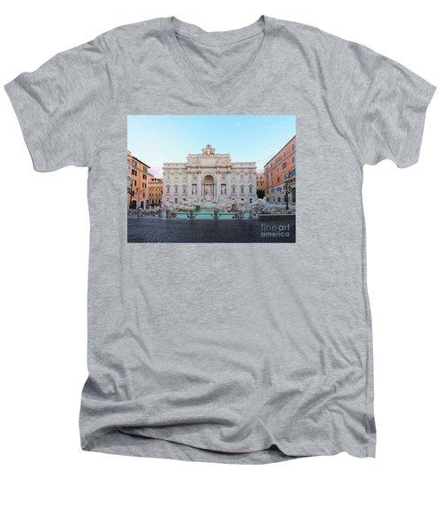 Fountain Di Trevi And Sunrise, Rome Men's V-Neck T-Shirt by Anastasy Yarmolovich