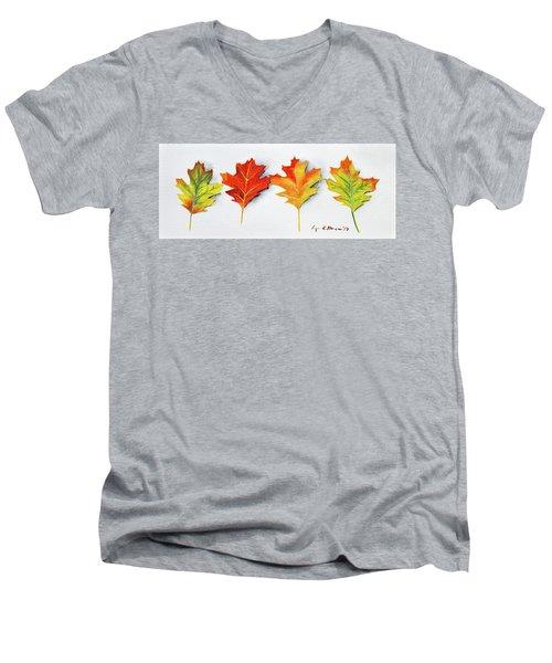 Four Autumn Leaves Men's V-Neck T-Shirt
