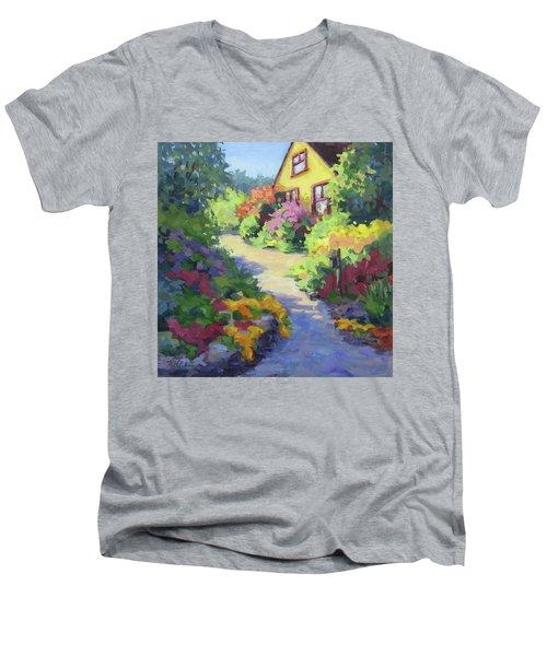 Garden Path Men's V-Neck T-Shirt by Karen Ilari
