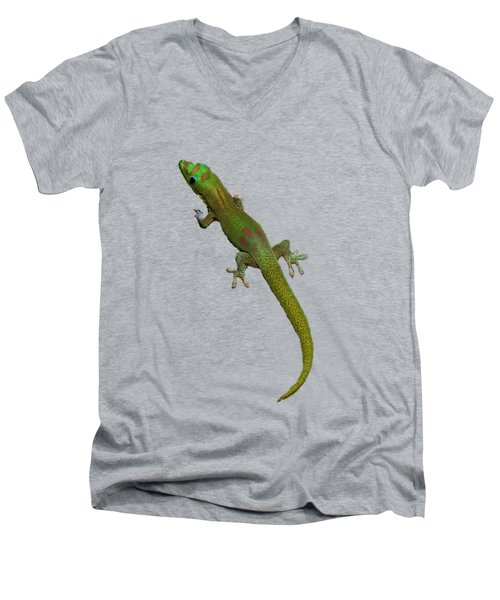 Gecko  Men's V-Neck T-Shirt by Pamela Walton