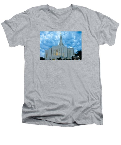 Gilbert Arizona Lds Temple Men's V-Neck T-Shirt by Nick Boren