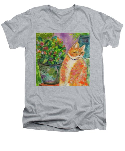 Ginger With Flowers Men's V-Neck T-Shirt