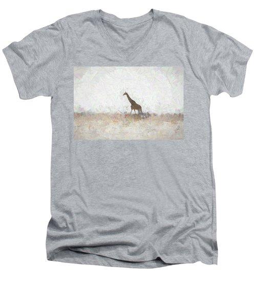 Men's V-Neck T-Shirt featuring the digital art Giraffe Abstract by Ernie Echols