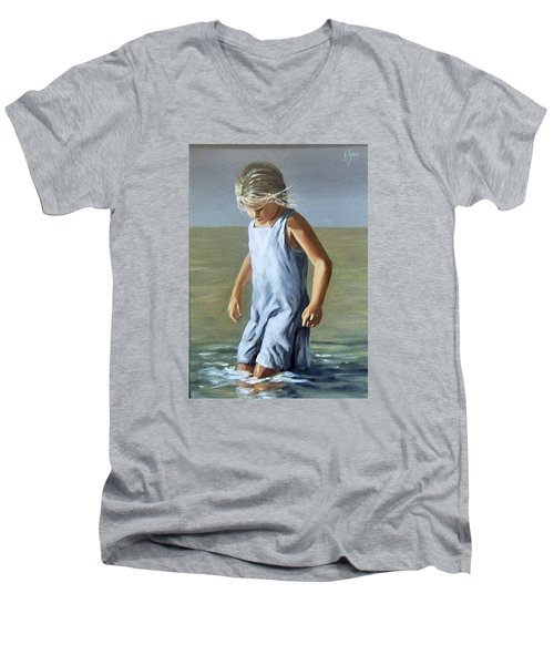 Men's V-Neck T-Shirt featuring the painting Girl by Natalia Tejera