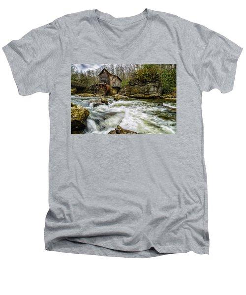 Glade Creek Grist Mill Men's V-Neck T-Shirt by Thomas R Fletcher