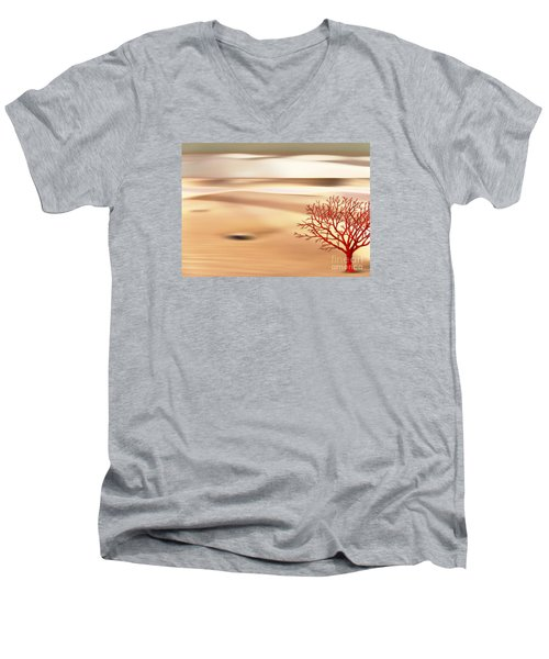 Men's V-Neck T-Shirt featuring the digital art Global Warming by Klara Acel