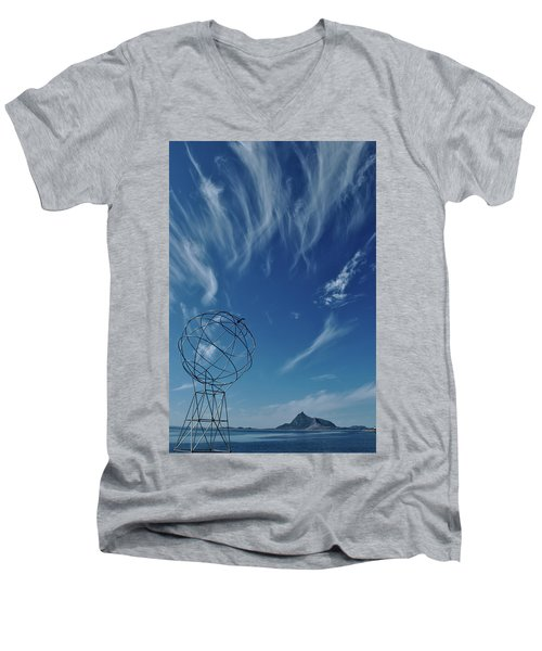 Globe Symbol View  On Sky Background In Norway Men's V-Neck T-Shirt by Tamara Sushko