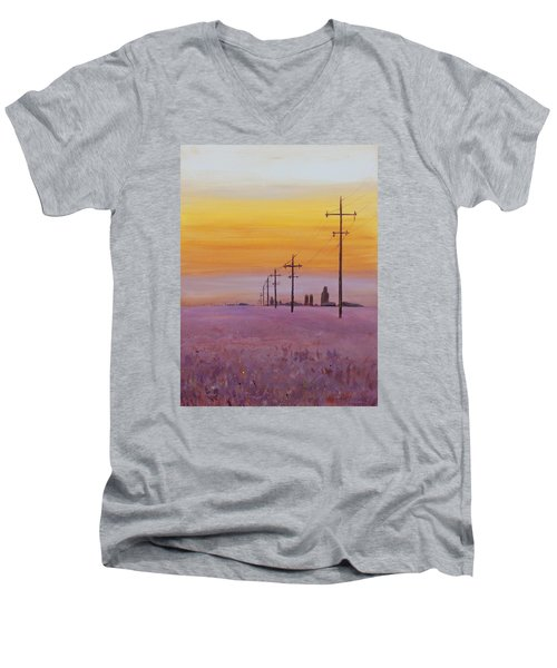Men's V-Neck T-Shirt featuring the painting Glow by Ruth Kamenev
