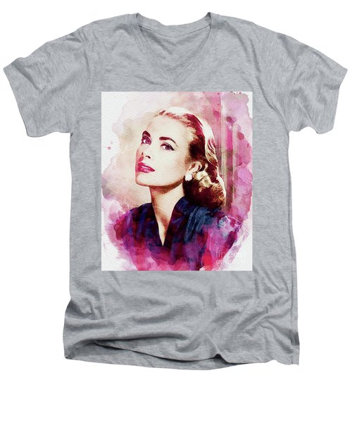 Grace Kelly, Vintage Actress Men's V-Neck T-Shirt