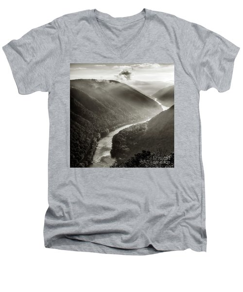 Grandview In Black And White Men's V-Neck T-Shirt