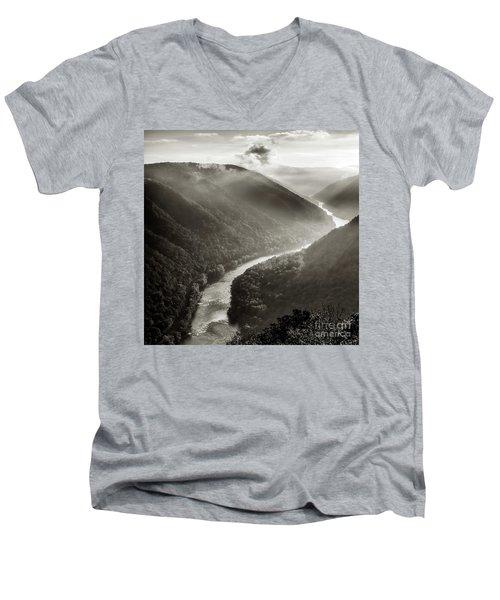 Grandview In Black And White Men's V-Neck T-Shirt