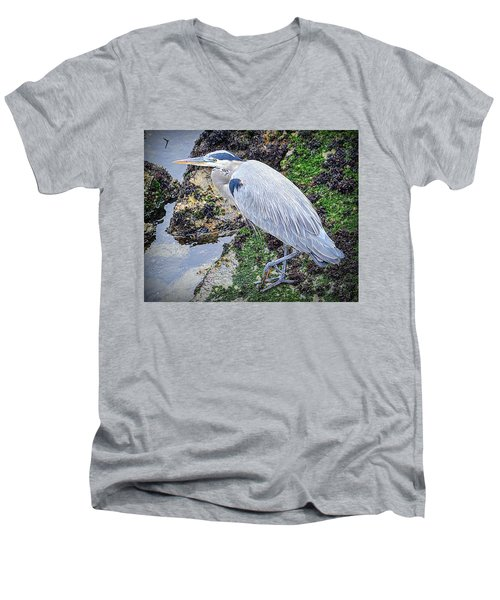 Men's V-Neck T-Shirt featuring the photograph Great Blue Heron by AJ Schibig