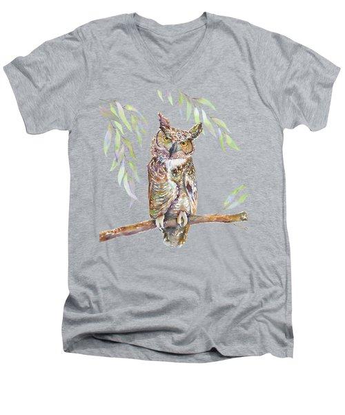 Great Horned Owl  Men's V-Neck T-Shirt by Amy Kirkpatrick