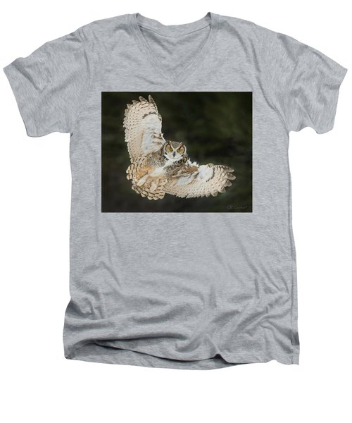 Great Horned Owl Wingspread Men's V-Neck T-Shirt