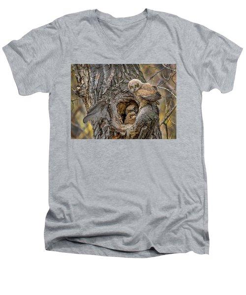 Great Horned Owlets In A Nest Men's V-Neck T-Shirt