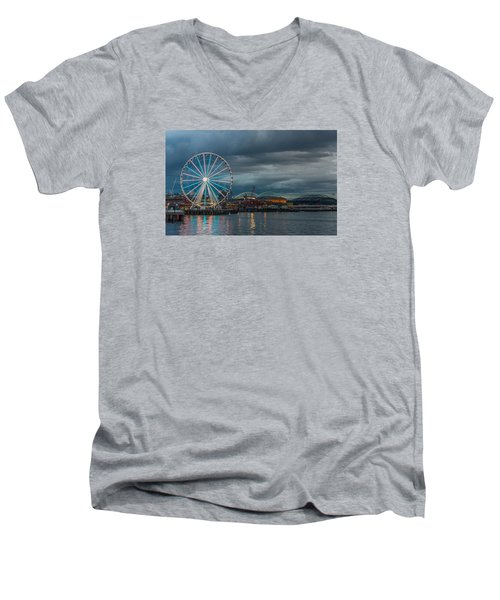 Men's V-Neck T-Shirt featuring the photograph Great Wheel by Jerry Cahill