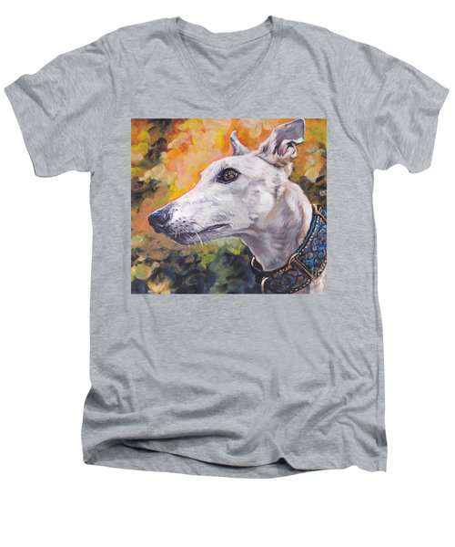 Men's V-Neck T-Shirt featuring the painting Greyhound Portrait by Lee Ann Shepard