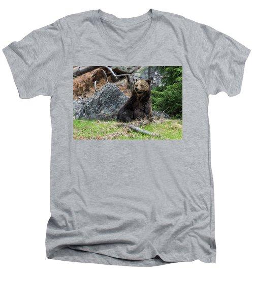 Grizzly Manor Men's V-Neck T-Shirt by Scott Warner