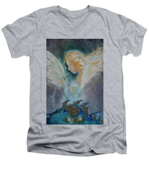 Angelic Encounters  Men's V-Neck T-Shirt