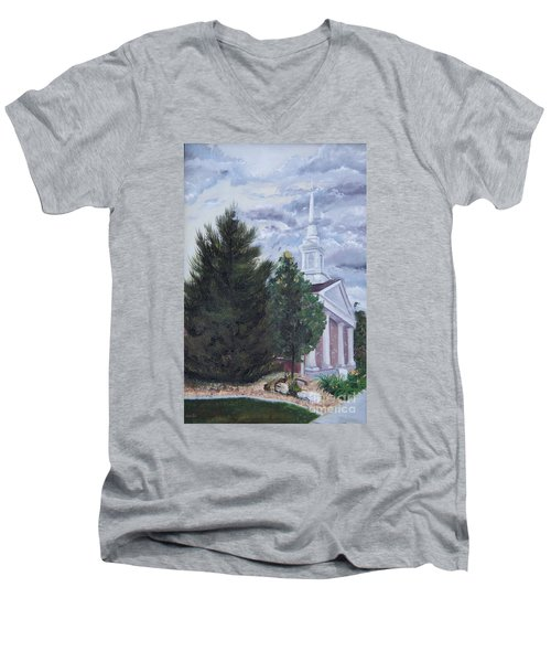 Men's V-Neck T-Shirt featuring the painting Hale Street Chapel by Jane Autry