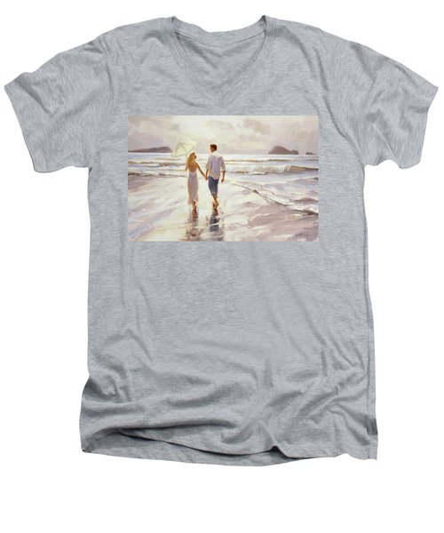 Men's V-Neck T-Shirt featuring the painting Hand In Hand by Steve Henderson
