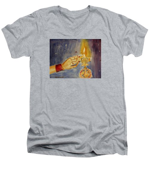 Men's V-Neck T-Shirt featuring the painting Happy Diwali by Geeta Biswas