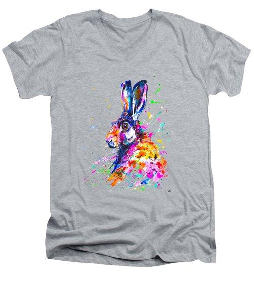 Hare In Grass Men's V-Neck T-Shirt