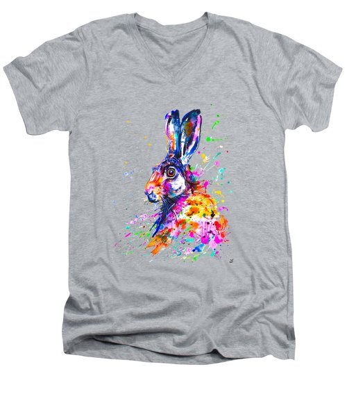 Hare In Grass Men's V-Neck T-Shirt