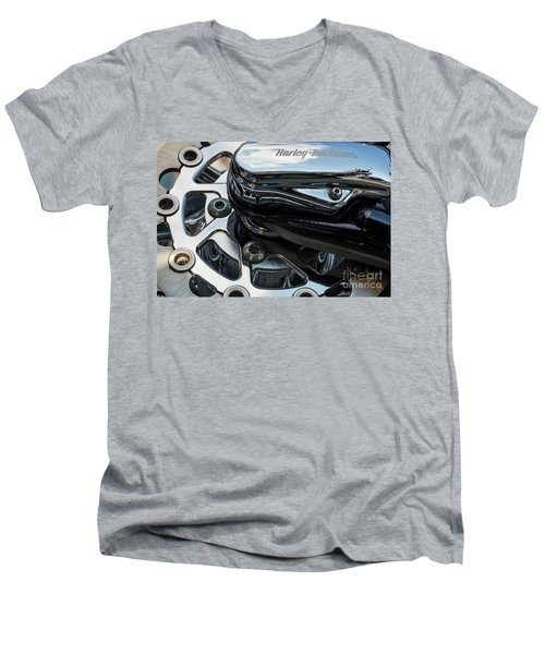 Men's V-Neck T-Shirt featuring the photograph Harley Davidson 15 by Wendy Wilton