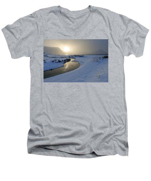 Haukland Beach, Lofoten Men's V-Neck T-Shirt by Dubi Roman